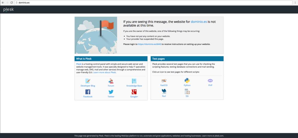 1. Pantalla de nuestro Hosting WordPress recién instalado.